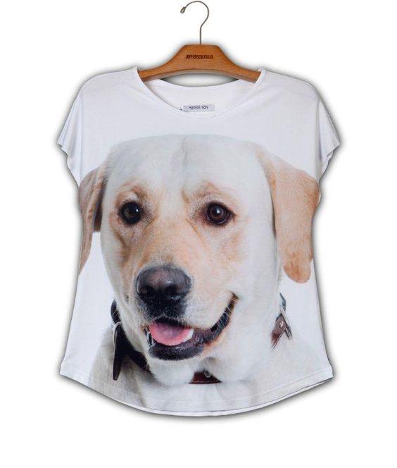 Camiseta Evasê Labrador Mel www.patinhasdegrife.com.br