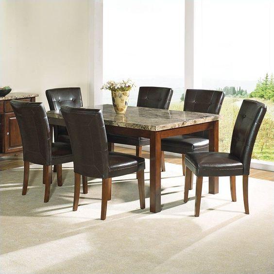 Dining room dining room sets formal granite top dining for Kitchen set granit hitam
