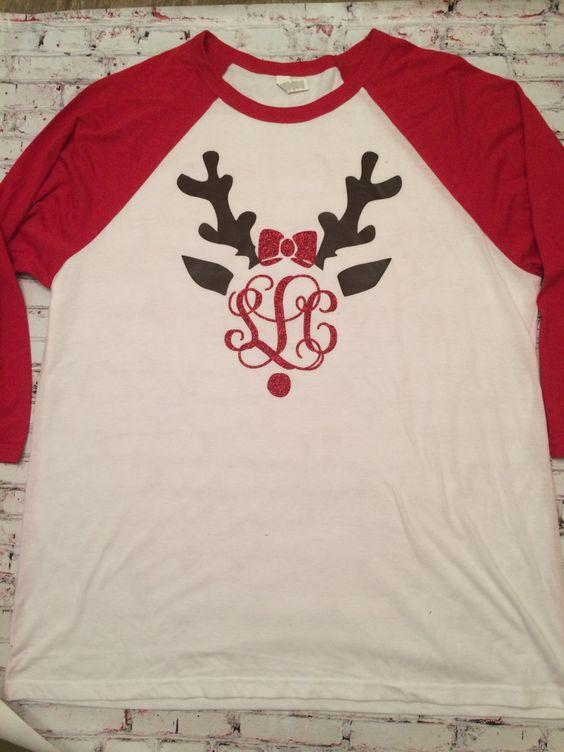 Ladies Long Sleeve Red White Raglan Tee. Reindeer Monogram. Heat Transfer VInyl. Christmas Personalized Shirt. Ladies Women Girls by ItzyTripzyBaby on Etsy