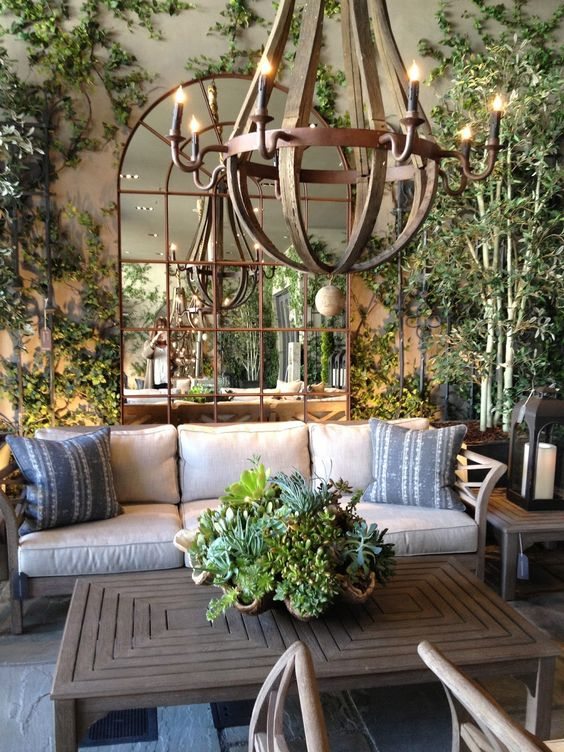 Glam garden rooms outdoor spaces mirrors chandelier outdoors