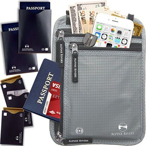 Neck Wallet Travel Pouch /& Passport Holder RFID Blocking with 5 Bonus Sleeves