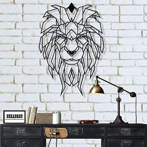 Dekadron Metal Wall Art Geometric Metal Lion Head Metal Wall