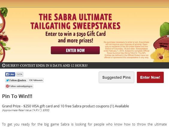Enter the Sabra Ultimate Tailgating Pin to Win Sweepstakes for a chance to win a $250 VISA Gift Card!