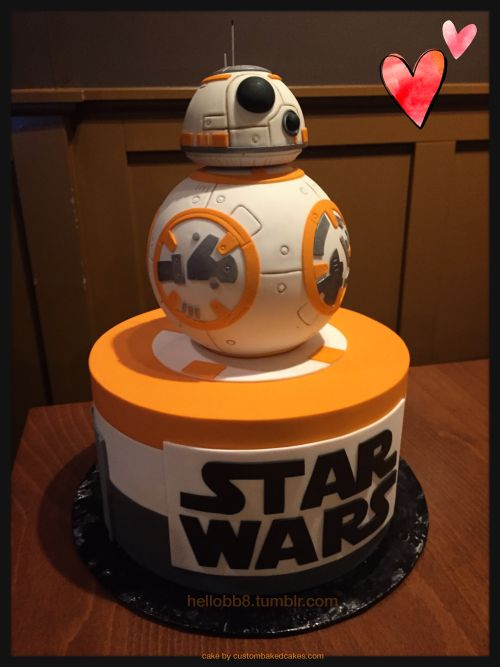 THIS IS THE BEST CAKE EVER. To kick off my birthday week, my SO presented me this beautifully done BB-8 cake while we were at lunch with my family. You guys, it was amazing and delicious. And the whole thing was edible! The inside of the base cake...: