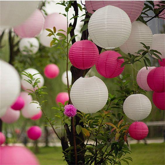 AGPtek 10 pz 6 pollici turno lanterne di carta bianca per la decorazione di festa natale nozze: Amazon.it: Illuminazione