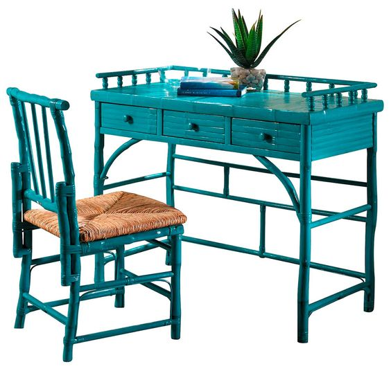 Turquoise Eastbrook Desk and Chair Set