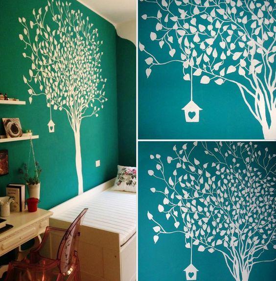 Rbol blanco esta habitaci n es de dos hermanas que for Como pintar mi cuarto