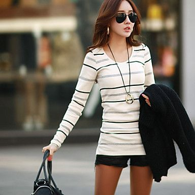 Women's Striped/Color Block Beige/Gray T-shirt , Round Neck Long Sleeve – USD $ 12.99