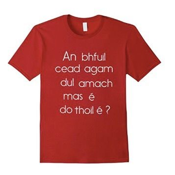 "Who remembers asking to go to the toilet in school? Yes it was ""An bhfuil cad agam full amach mas é do thoil é?"" I know some asked to go to the leithreas but this was a short and easie one and now it's available on a T-shirt from Amazon !  http://amzn.to/2eWagoi"