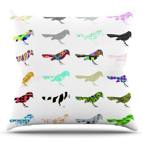Birds by Belinda Gillies Outdoor Throw Pillow
