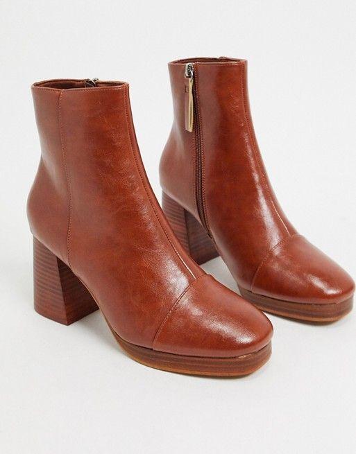ASOS DESIGN Rhona platform boots in tan
