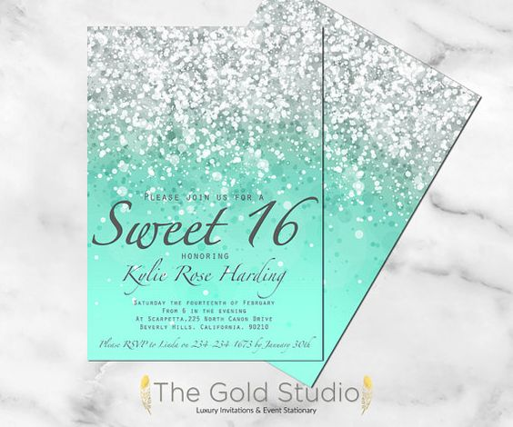 Customizable Mint Green Glitter Ombre Sweet sixteen 16 printable digital file, Turquoise invitation JPEG PDF glamorous modern birthday party
