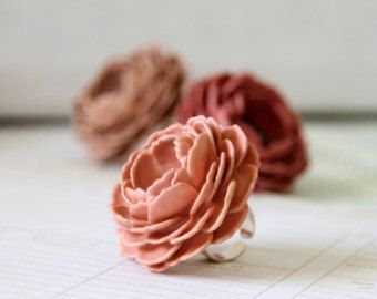 Extra Large Oversized Handmade Paper Rose Cocktail Statement Ring In The Woodland Color Collection