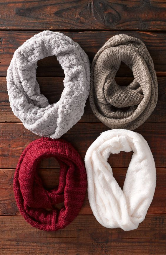 Love! These ribbed infinity scarves are season staples ...