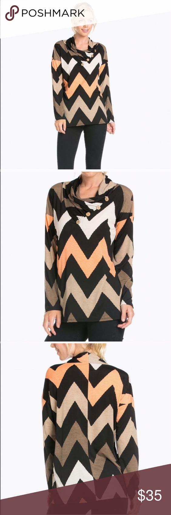 Blossom Apparel.. Chevron top This top is brand new with tags. Button top. 95% polyester, 5% spandex. Tops