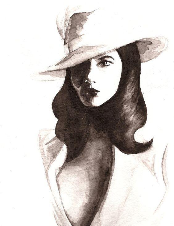 Watercolor Fashion Illustration Screen Siren 8 x by SketchesbyKate, $20.00