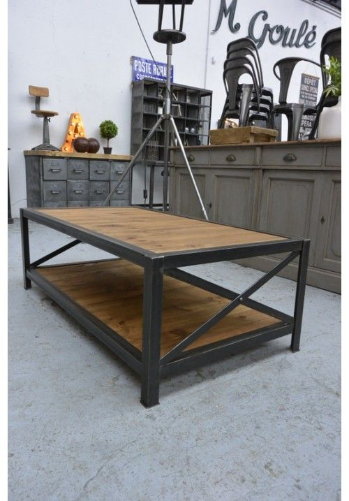 Tables on pinterest for Table bois fer industriel