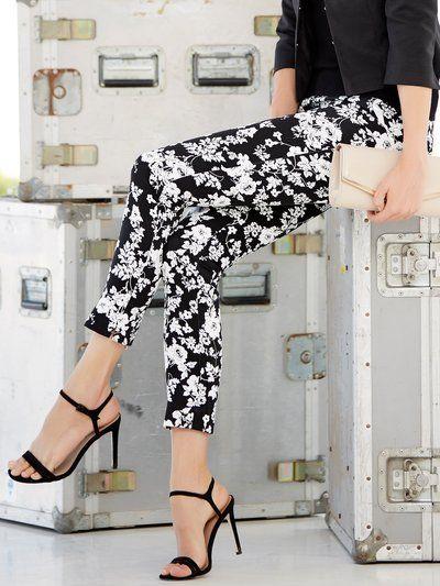 M&Co. Women Floral print sateen trousers