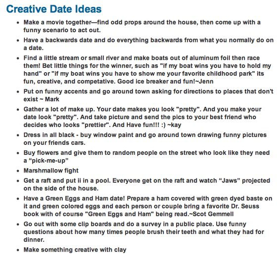 Dating website date ideas