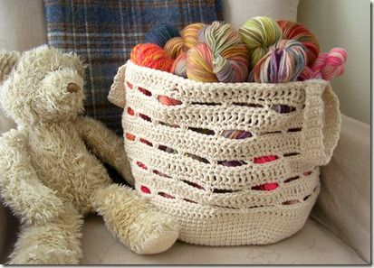 """Crocheted """"Stash Basket"""" with link to pattern."""