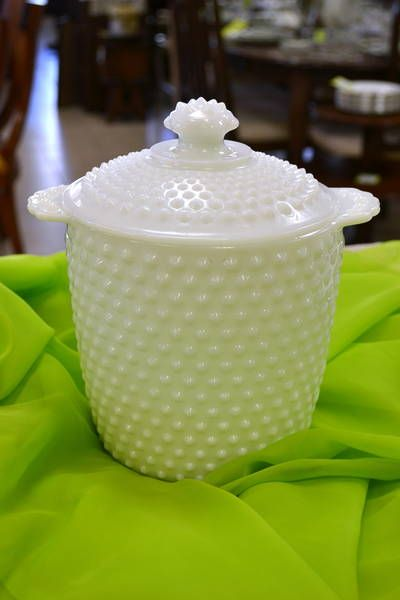 Anchor Hocking White Hobnail Milk Glass Covered Biscuit Barrel