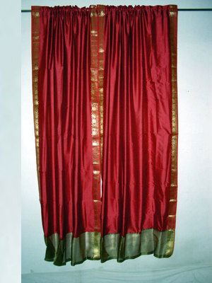 2 Art Silk Sari Curtains Brick Red Golden Border Drapes Panels 84 ...