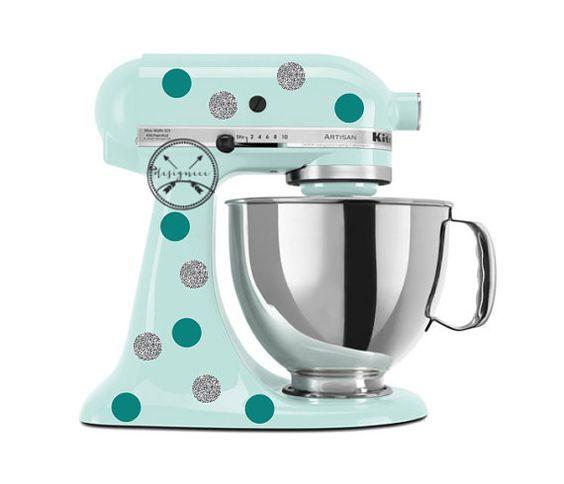Polka dot Kitchen Aid  Etiquette autocollant pois pour kitchen aid et électroménager  pois argenté gris et vert