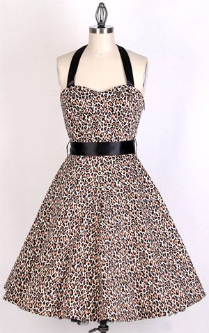 50s Leopard Pattern Swing Dress 81535