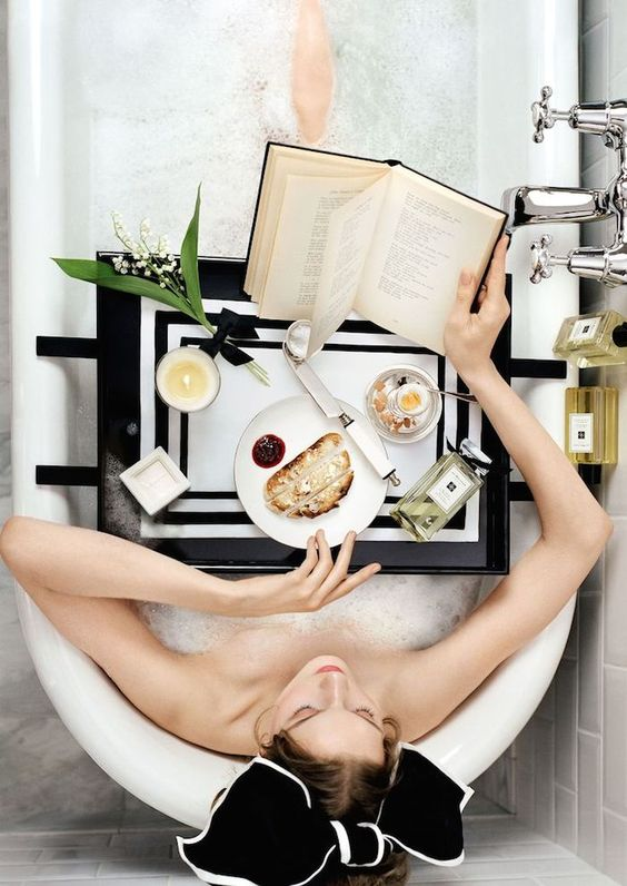 A cozy bath and book in hand sounds perfect while on vacation.