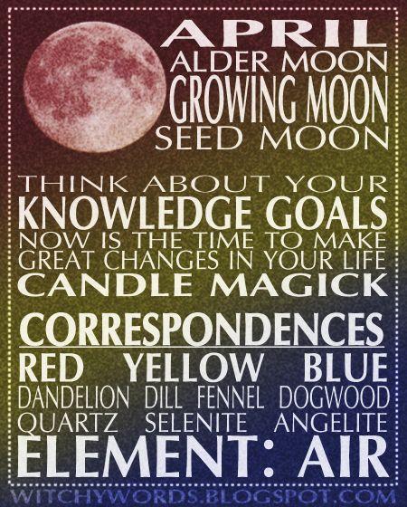 April Growing Moon Full Moon Esbat: ritual correspondences and goals. #wicca