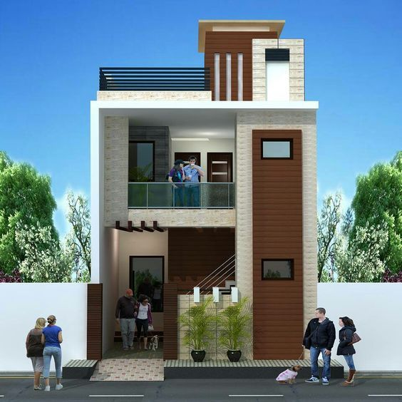 Fachadas De Casas De Dos Pisos Con 6 Metros Al Frente De Construccion Fachadas De Casas Small House Elevation Small House Elevation Design Modern House Facades