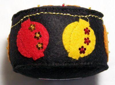 Chinese lantern felt pin cushion