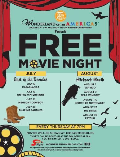 Free Classic Movies at Wonderland of the Americas Mall every Thursday at 7pm. Tickets available at 6pm in Bijou theatre day of the show. Only 200 seats available. August is Hitchcock month!
