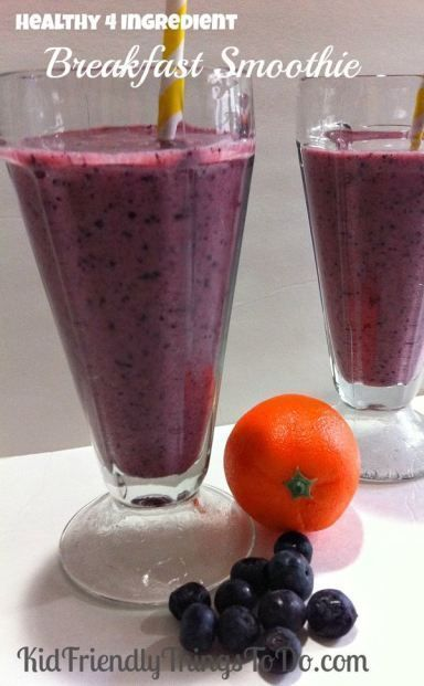 Healthy Four Ingredient Blueberries and Orange Juice Breakfast Smoothie Recipe! Delicious, and Nutritious Snack or Breakfast Drink!