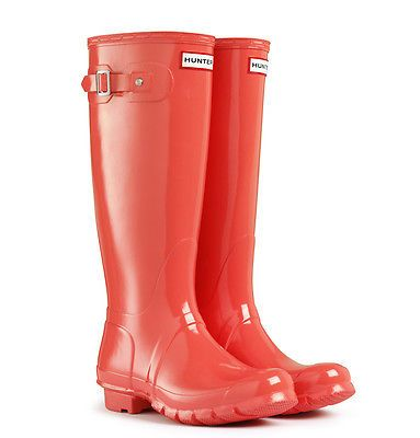 Hunter Original Tall Gloss Rain Boot color FLAME (coral/pink ...
