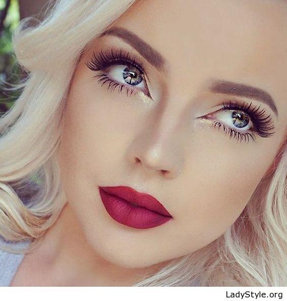 Blonde Hair Natural Makeup And Red Lips Ladystyle Gorgeous Makeup Fashion Makeup Hair Makeup