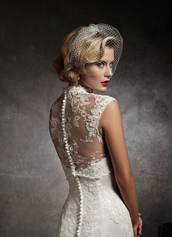 Lace back Justin Alexander wedding dress