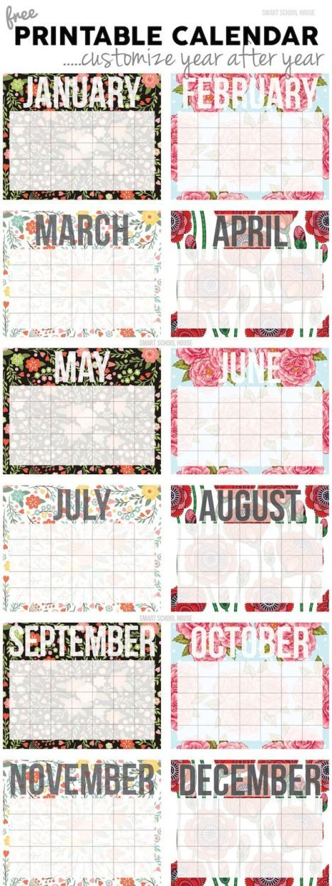 2018 free printable calendars - Lolly Jane