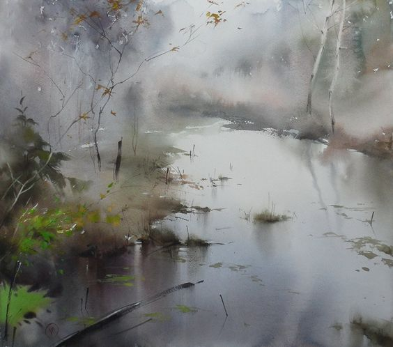 "https://www.facebook.com/MiaFeigelson  ""In the forest after the rain"" By Ilya Ibryaev (Ибряев Илья), from Moscow, Russia (b. 1955) - watercolor; 58 x 48 cm - [From the Series"" Forest streams""] https://www.facebook.com/ilya.ibryaev:"