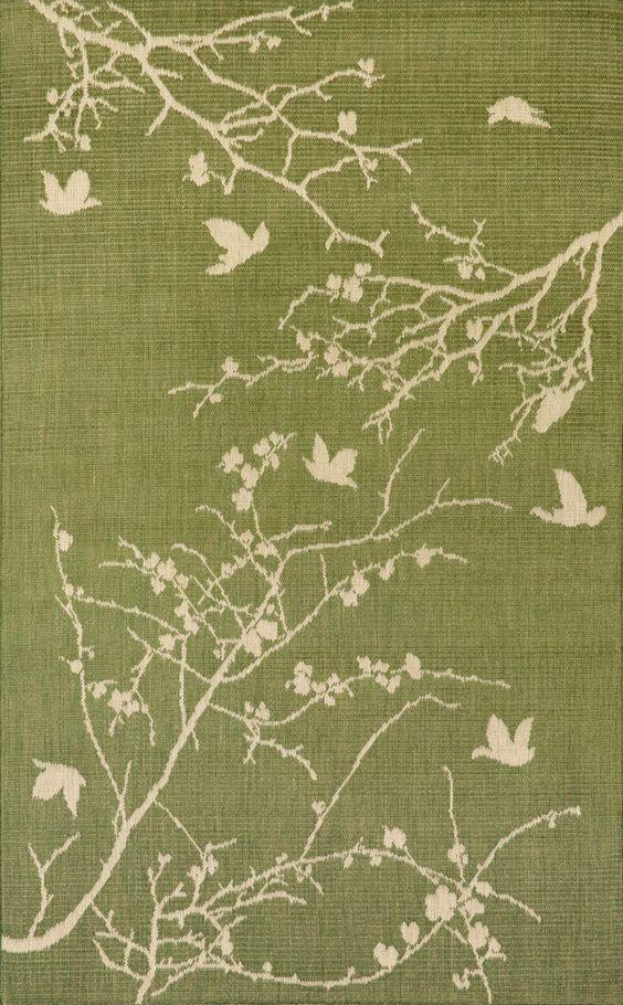 """Plum Blossom Green 23"""" x 35"""" Indoor/Outdoor Flatweave Rug"""
