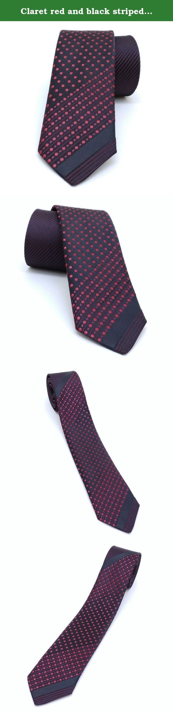 "Claret red and black striped and dotted men's tie 5,5 cm (2,17"") SL-085. Claret red and black striped and dotted men's necktie SL-085 Width : 5,5 cm (2,17"") Length : 150 cm (59,06"")."