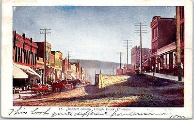 1908-Cripple-Creek-Colorado-Postcard-BENNETT-AVENUE-Bi-Level-Street-Scene