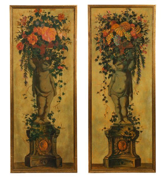 Pair of Hand Painted Panels, Cherub With Topiary : Lot 854. Estimated $2,000-$4,000