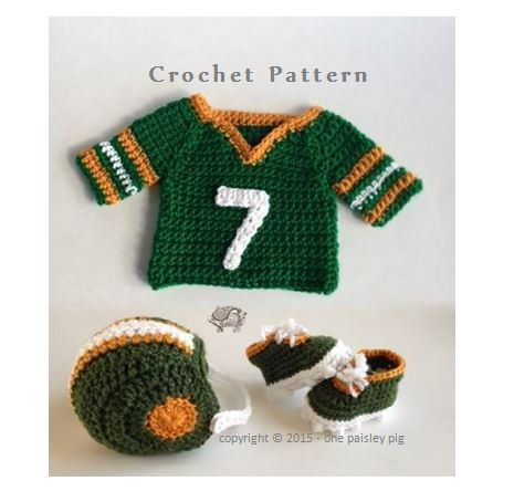 Babys First Football Uniform / Photo Prop - 3 PDF CROCHET ...