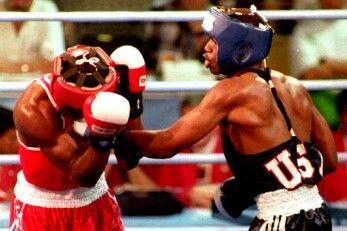Chris Byrd (USA) vs. Chris Johnson (Canada) at the 1992 Olympics.