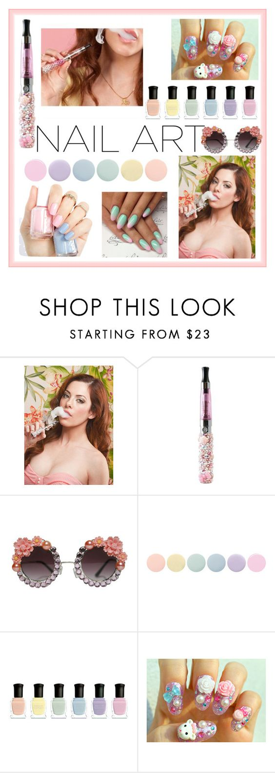 """Pastel Nails"" by crystalcult on Polyvore featuring beauty, Shibuya, Deborah Lippmann, pastelnails and thecrystalcult"