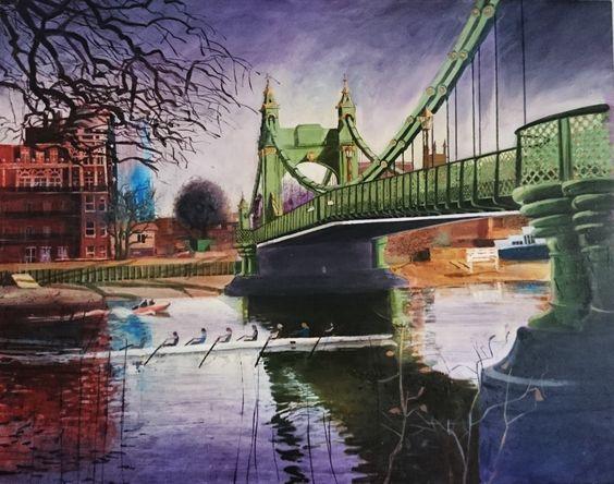 Karl Newman.  Oil on canvas.  Hammersmith Bridge 2005. 138 x 118 cms