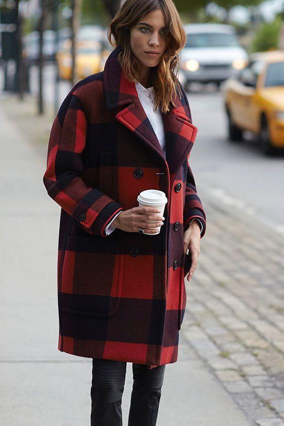 Manteau oversize à carreaux rouges et slim