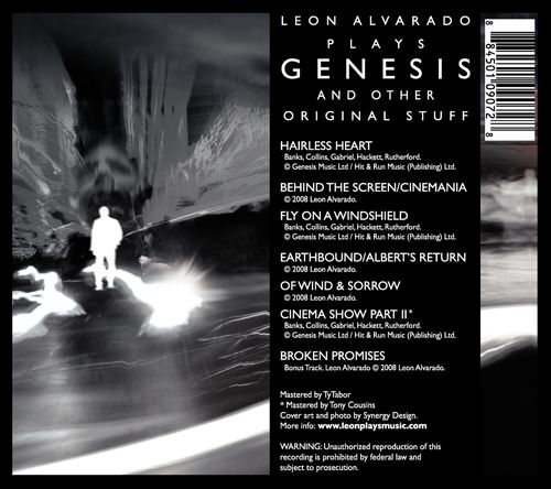 Plays Genesis and Other Original Stuff back cover. ©2008 Leon Alvarado