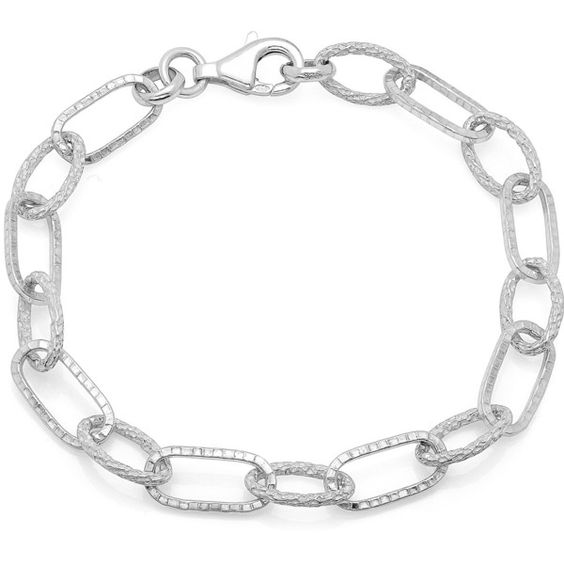 Sterling Essentials Textured Alternating Link Bracelet ($25) ❤ liked on Polyvore featuring jewelry, bracelets, silver, 14 karat gold jewelry, 14k jewelry, yellow jewelry, 14k bangle and rose jewelry